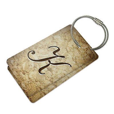 Letter K on Cork Design Suitcase Bag ID Luggage Tag - Design Luggage Tag Set