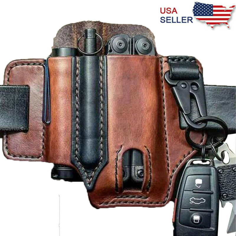 Leather EDC Pocket Organizer For Men,Multitool Sheath for Belt Flashlight Sheath