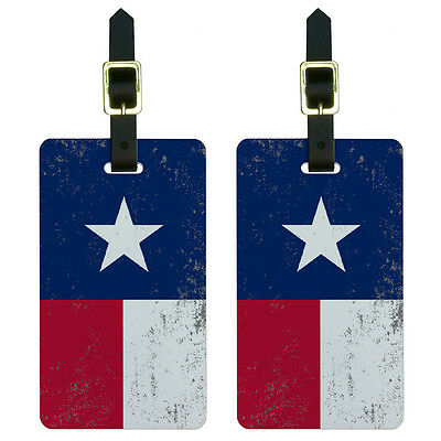 Texas Flag Distressed Luggage Suitcase Carry-On ID Tags Set of 2