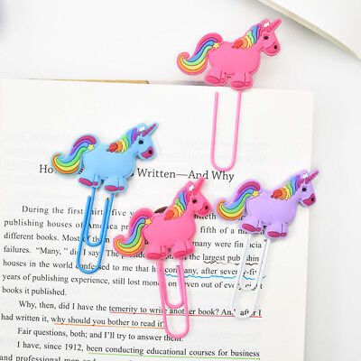 (2X Unicorn Bookmark Office School Book Note Clip Page Markers Reading Stationery)