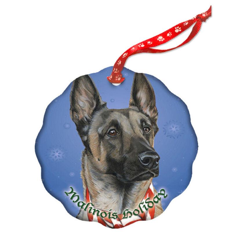 Belgian Malinois Holiday Porcelain Christmas Tree Ornament
