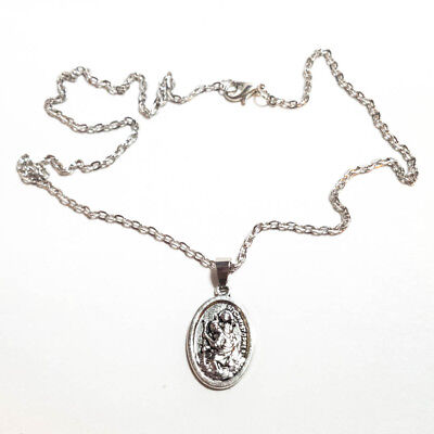 "Saint St Christopher Protect Us Oval Silver Medal Pendant Necklace 18"" Chain"
