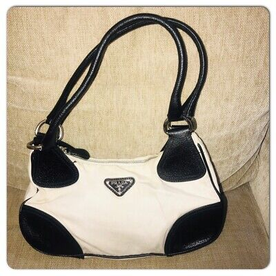 Prada Vintage 90s Black Leather white Canvas small Tote Shoulder Bag