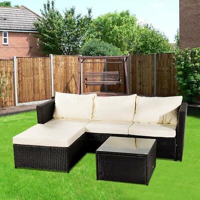 Garden Furniture - UK Rattan Garden Furniture Set Outdoor Table Chair Sofa Conservatory Patio Brown