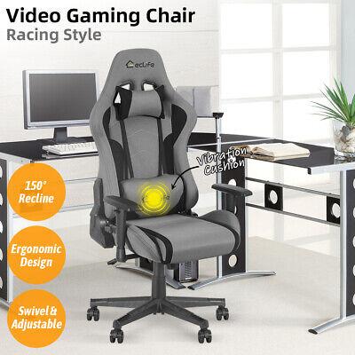 Gaming Racing Chair Office Computer Desk Recliner Adjustable Swivel Massage Gray