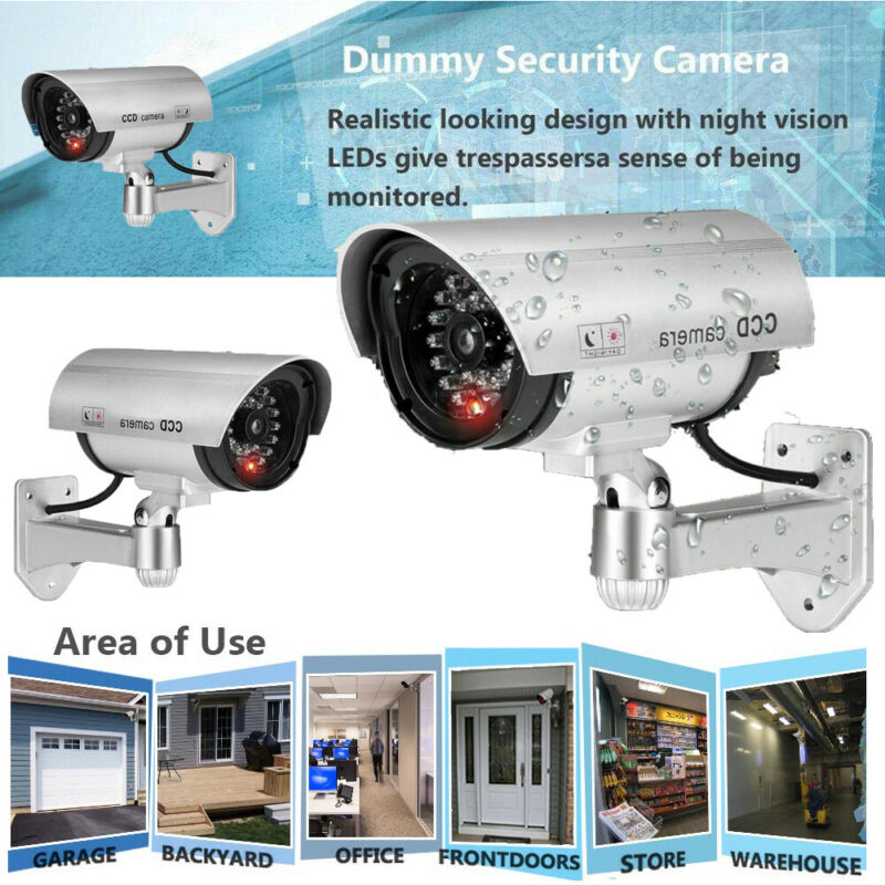 CCTV Fake Dummy Security Camera Home Office Store Decoy with Flashing LED Red