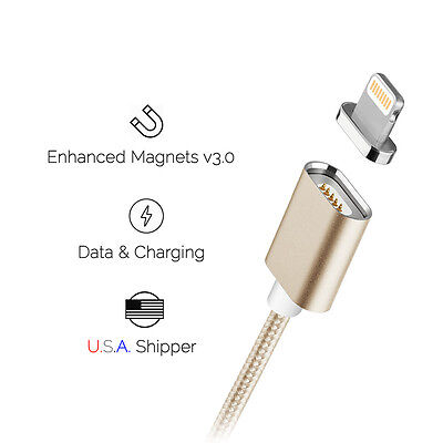 2017 Magnetic Lightning USB Cable Detachable Data Charge for iPhone/iPad Gold