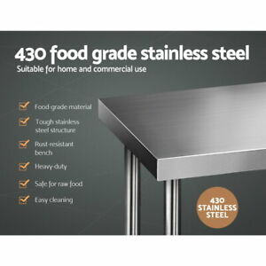 Abbey 430 Stainless Steel Commercial Kitchen Bench 1219 x 610mm - SHSSKB-430S-48