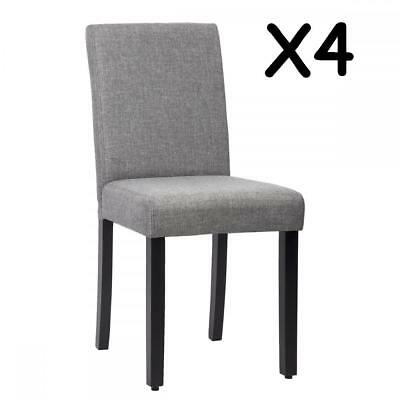 New Set of 4 Grey Elegant Design Modern Fabric Upholstered Dining Chairs B164