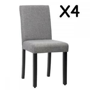 New Set Of  Grey Elegant Design Modern Fabric Upholstered Dining Chairs B