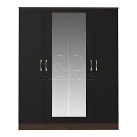 Beatrice 4 door mirrored wardrobe walnut and black