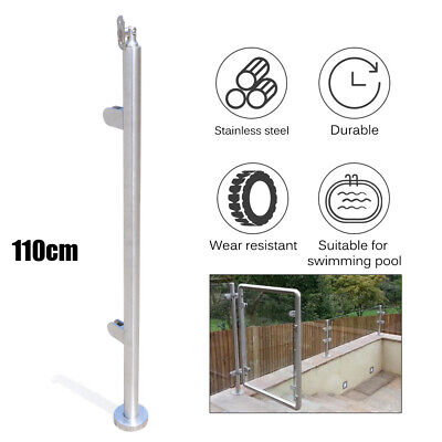 Stainless Steel Balustrade Railing 110cm End Post Glass Clamps Fencing Home