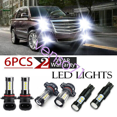 For Cadillac Escalade 07-14 6x White Front Fog Driving DRL Lamps LED Lights Kit