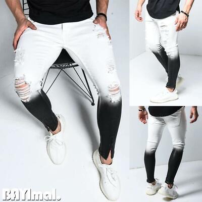Men's Skinny Stretch Ripped Jeans Slim Fit Denim Trousers Pants Destroy S M L XL