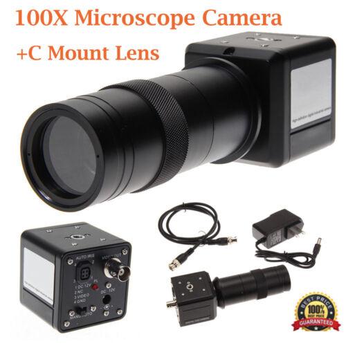 100X Industrial Digital Microscope Camera BNC PAL AV TV Video Zoom+C Mount Lens