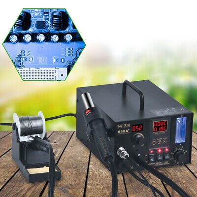4 In 1 968a Hot Air Rework Soldering Station Smd Fume Extractor Digital Display