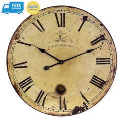 Imax 2511 Large Wall Clock with Pendulum – Vintage Style Round Clock, Decor...