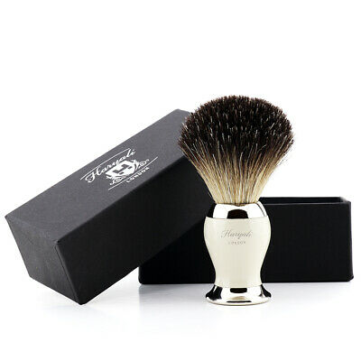 Mens Shaving Brush With Pure Black Badger Hair Bristles Perfect Gift Set For -