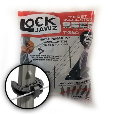 Lockjawz 25pk Electric Fence T Post Insulators - Black T-360