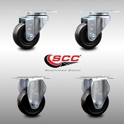 Ss Hard Rubber Caster Set Of 4 W3 Wheels - 2 Swivel2 Rigid