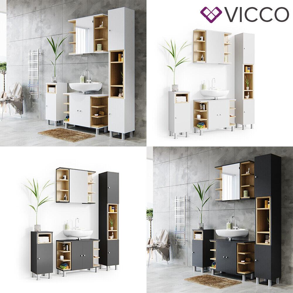 VICCO Badmöbel Set AQUIS Weiß Anthrazit Badezimmermöbel Waschtischunterschrank