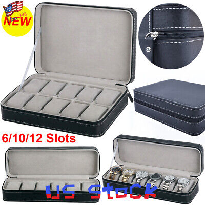 Watch 6/10/12 Slots Jewelry Storage Box Portable Travel Zipper Case Collector US