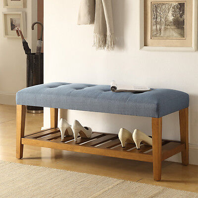 Charla Hallway Entryway Blue Fabric Upholstery Bench Shoe Storage Rack Wood Oak for sale  Walnut