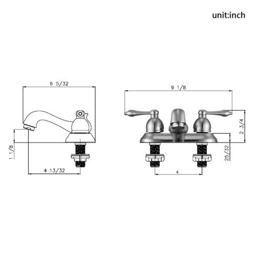 4'' Bathroom Vessel Sink Faucet 3 Holes 2 Handles Basin Mixer Tap W/Pop up Drain 5