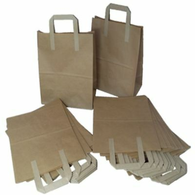 100 Brown Paper SOS Carrier Bags Size Large 10x5.5x12.5