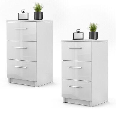 nachtkommode f r boxspringbett 2 er set nachtschrank nachttisch wei hochglanz ebay. Black Bedroom Furniture Sets. Home Design Ideas