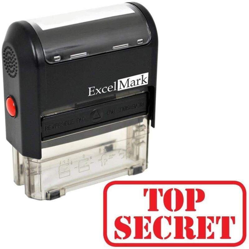 TOP SECRET - ExcelMark Self Inking Rubber Stamp A1539 | Red Ink