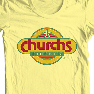 Chicken Yellow T-shirt - Church's Fried Chicken T-shirt retro vintage fast food 100% cotton yellow