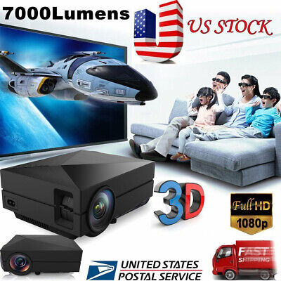 Portable 7000 Lumens HD 1080P 3D Multimedia Projector LED Home Theater HDMI USB