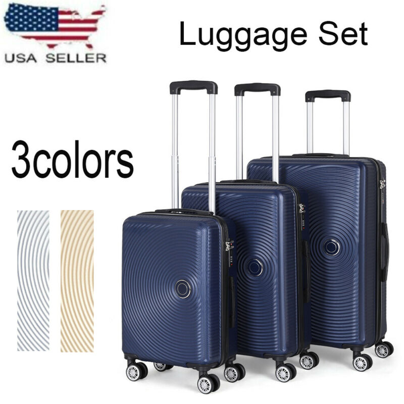 ABS Luggage Set Hardside Spinner Lightweight Durable Spinner Suitcase Hard Case