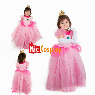 Child Girls Princess Peach Dress Halloween Costume for Kids with - Princess Peach Dress