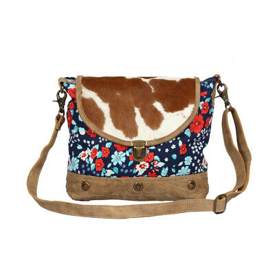 Jazzy Floral Recycled Canvas Messenger Bag-Hairon Hide Purse - Zip Back -