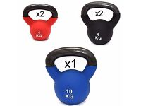 FXR SPORTS CAST IRON KETTLEBELLS 30kg SET WITH RUBBER SLEEVE HOME GYM FITNESS