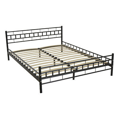 Black Queen Size Wood Slats Bed Frame Platform Headboard Footboard Furniture