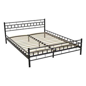Black Queen Size Wood Slats Bed Frame Platform Headboard Footboard Furniture