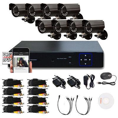 8PCS 1300TVL 8CH HDMI 960H DVR IR-Cut Outdoor CCTV Security Home Camera System