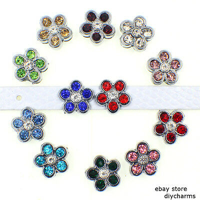 5pcs 8mm Crystal Flower Slide Charms For Collar Wristband Free Shipping SL477 Crystal Flower Slide Charm