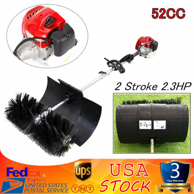 52CC Gas Powered Sweeper Broom Hand Held Concrete Cleaniing Driveway Walk Behind