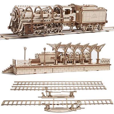 Ugears Eisenbahn Spar-Set (Lokomotive, Bahnhof, Schienen)