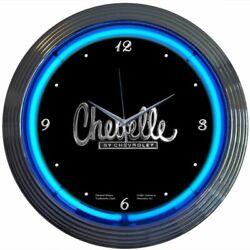 Chevrolet Chevelle Blue Neon Hanging Wall Black Clock 15 Diameter 8CHEVEL