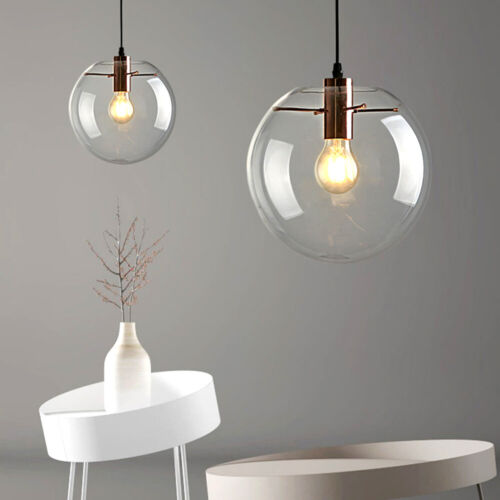 Modern Large Glass Globe Pendant Light Fixture