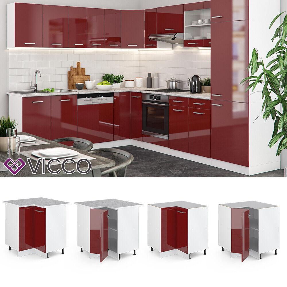 VICCO Küchenschrank Hängeschrank Unterschrank Küchenzeile R-Line Eckunterschrank 87 cm bordeaux