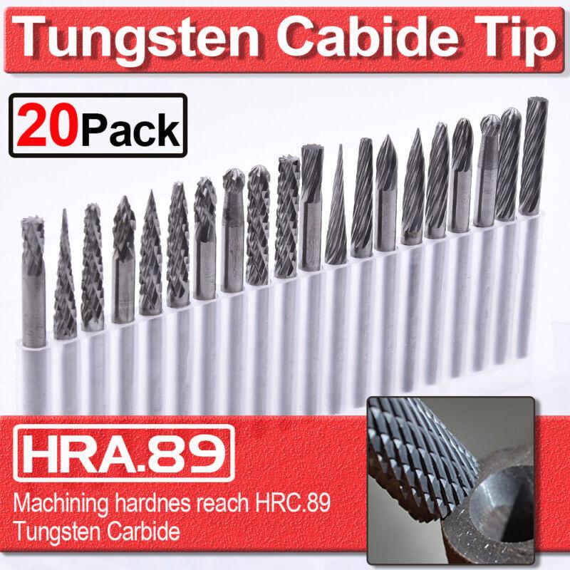 "20pcs Tungsten Carbide Rotary Point Burr Die Grinder Shank Set Tool 3*3mm 1/8"""