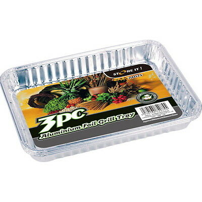 3x Aluminio Metalizado Grill Catering de Cocina para Servir Barbacoa Bandeja