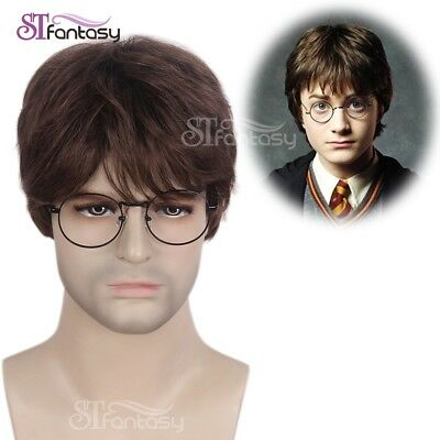 Mens Brown Wig Harry Potter Halloween Cosplay Guy Short Layered Synthetic Hair  (Brown Wig Halloween)