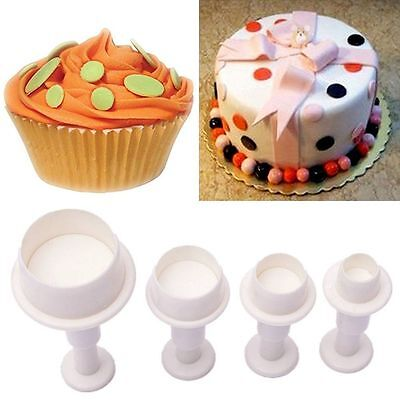Cookie Cake Cutter Mold Biscuit Sugar Plunger Fondant Craft Decor Round Circle